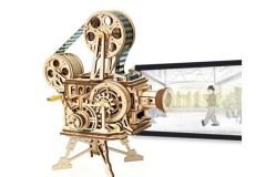 若态 RoboTime ROKR手工木制机械传动电影放映机模型