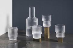 Ferm Living Ripple竖纹玻璃杯水瓶